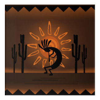 Kokopelli Sun Southwest Rustic Brown Acrylic 3 Acrylic Wall Art