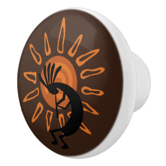 Kokopelli Sun Southwest Rustic Brown Door Knob