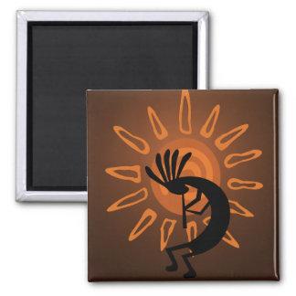 Kokopelli Sun Southwest Rustic Brown Magnet