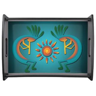 Kokopelli Sun Southwest Turquoise Serving Tray