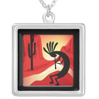 Kokopelli Sunset Silver Necklace