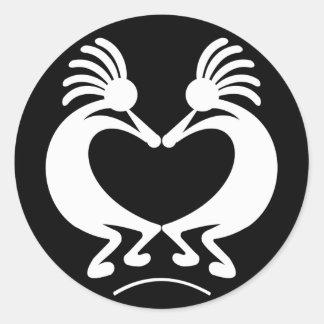 Kokopelli with heart classic round sticker