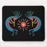Kokopelli with Sun Southwest Black Mousepad Mousepad