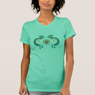 Kokopelli with Sun Southwest Mint Tee Shirt