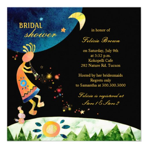 Kokopelli's Glitzy Music Bridal Shower Invitations