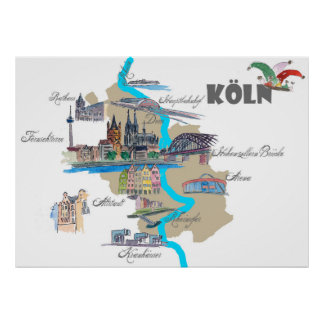 Köln map with tourist Highlights Poster