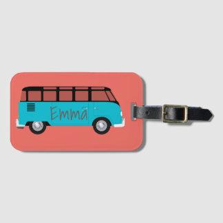Kombi Van in blue and orange with name Luggage Tag