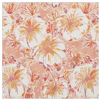 KOMBUCHA-CHA Peach Tropical Hibiscus Pattern Fabric