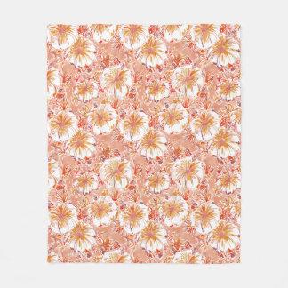 KOMBUCHA-CHA Peach Tropical Hibiscus Pattern Fleece Blanket