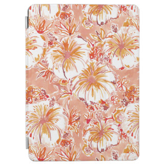 KOMBUCHA-CHA Peach Tropical Hibiscus Pattern iPad Air Cover
