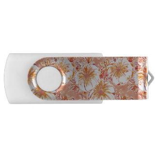 KOMBUCHA-CHA Peach Tropical Hibiscus Pattern Swivel USB 3.0 Flash Drive
