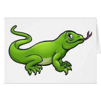 Komodo Dragon Lizard Cartoon Character Card