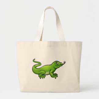 Komodo Dragon Lizard Cartoon Character Large Tote Bag