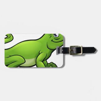 Komodo Dragon Lizard Cartoon Character Luggage Tag