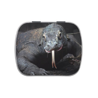 komodo dragon tongue out drooling jelly belly candy tin
