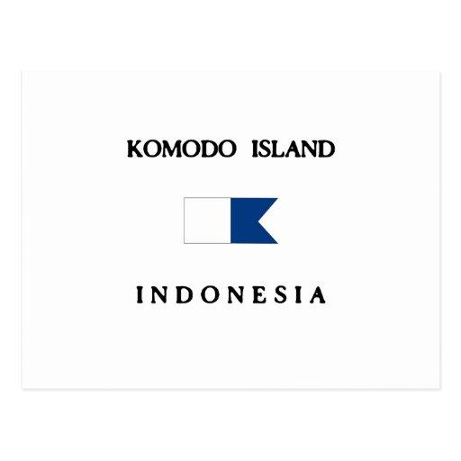 Komodo Island Indonesia Alpha Dive Flag Post Cards