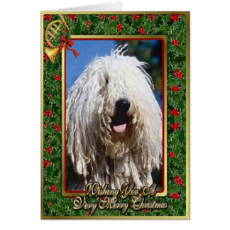 Komondor Dog Blank Christmas Card