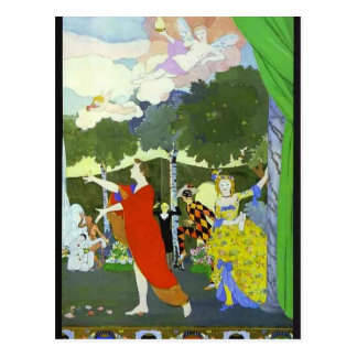 Konstantin Somov-Curtain Design for 'Free Theatre' Postcard