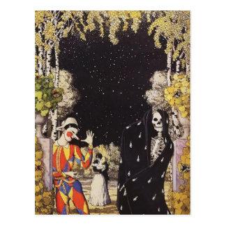 Konstantin Somov- Harlequin and Death Postcard