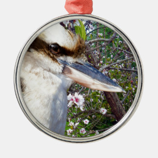 Kookaburra By A Blossom Tree, Metal Ornament