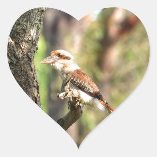 KOOKABURRA IN TREE QUEENSLAND AUSTRALIA HEART STICKER