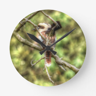 KOOKABURRA & WILLIE WAGTAIL QUEENSLAND AUSTRALIA WALL CLOCK