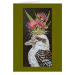kookaburra with eucalyptus card