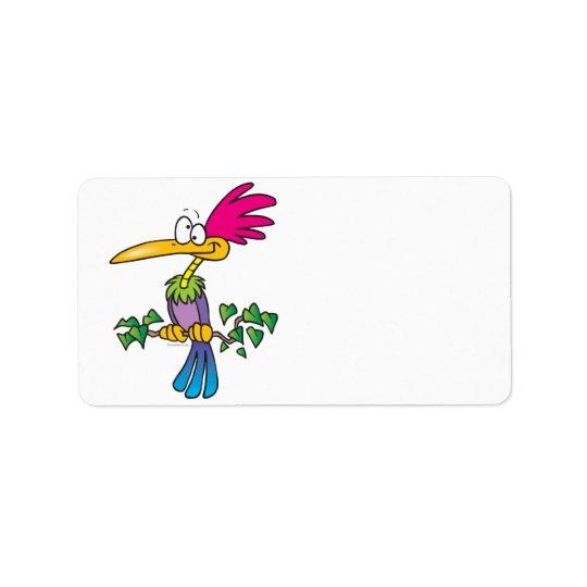 kooky crazy tropical exotic bird cartoon label