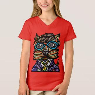 """""""Kool Kat"""" Girls' V-Neck T-Shirt"""