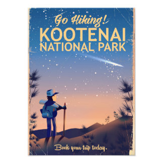 Kootenai National park Hiking travel poster Photograph