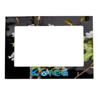 Korea Cherry Blossoms White Magnetic Picture Frame