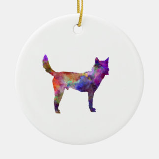 Korea Jindo Dog in watercolor Round Ceramic Decoration