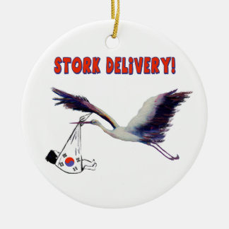 Korean Adoption - Stork Delivery Round Ceramic Decoration