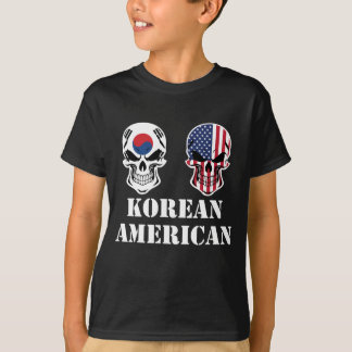 Korean American Flag Skulls T-Shirt