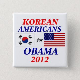 Korean americans for Obama 15 Cm Square Badge