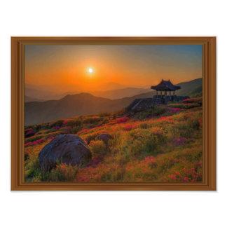 Korean Autumn Sunset Temple Wood Frame Photo Print