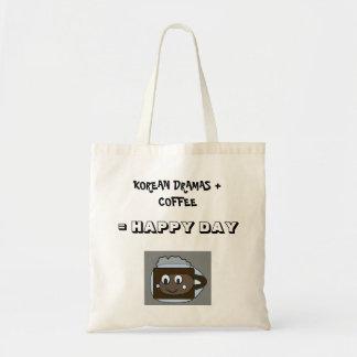 Korean Dramas + Coffee = Happy Day Budget Tote Bag