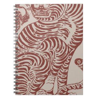 Korean Folk Art Tiger Spiral Notebook
