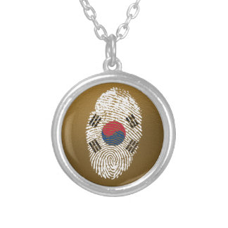 Korean touch fingerprint flag silver plated necklace