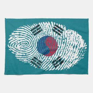 Korean touch fingerprint flag tea towel