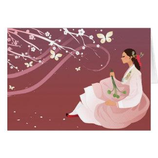 korean woman wearing a hanbok card