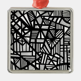 Koria Abstract Expression Black and White Silver-Colored Square Decoration