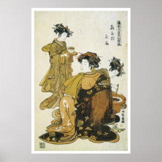 Koryusai Courtesan Hanaogi & Attendants Art Prints Print