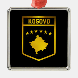 Kosovo Emblem Silver-Colored Square Decoration