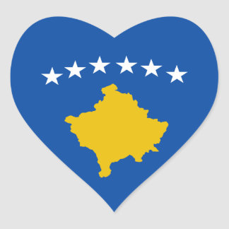 Kosovo Flag Heart Sticker