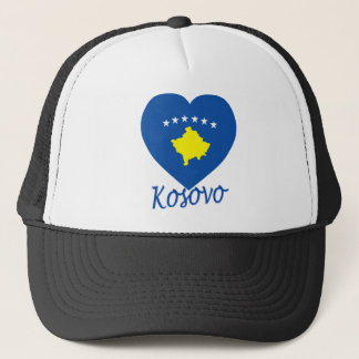Kosovo Flag Heart Trucker Hat