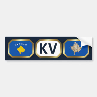 Kosovo Flag Map Code Bumper Sticker