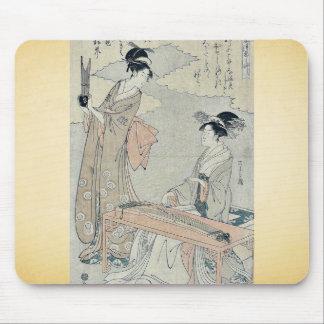 Koto and Sho panpipes by Hosoda, Eishi Ukiyoe Mouse Pad
