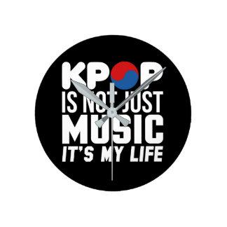 Kpop Is My Life Slogan Graphics (dark) Round Clock