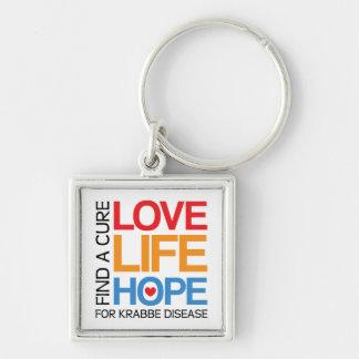 Krabbe disease awareness keyring, find a cure key ring